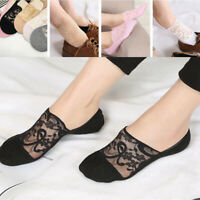 Women Summer Antiskid Invisible No Show Liner Cotton Lace Flower Low Cut Socks