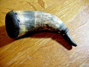 Very Old ANTIQUE POWDER HORN with Carved Fish Head WOOD PLUG