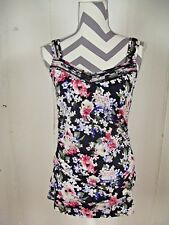 White House Black Market Womens SMALL Multi-Colored Floral Ruched Tank Top Shirt