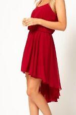 Dress Hi Lo Maroon Love Chiffon Cami Straps Misses size 6 New