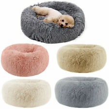 Large Shaggy Fluffy Fur Pet Beds Dog Puppy Cat Kitten Donut Cushion Mats Soft