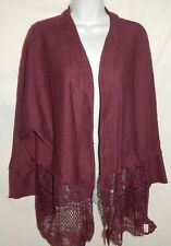 Sweater Knox Rose XL Open Front Cardigan Merlot Purple Swing Lace Top XLS1