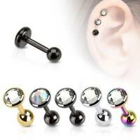 3x Surgical Steel Gem Tragus Ear Cartilage Piercing Barbell Helix Studs Earring