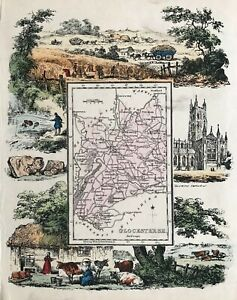 1845 Antique map - Gloucestershire - from Reuben Ramble's. Scarce