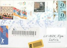 ARMENIA REGISTERED CHESS COVER TO LATVIA FLAG R202098