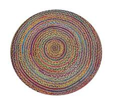 Free Shipping 60x60 CM Round Chindi Jute Area Rugs Hand Woven Braided Floor Mats
