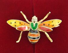 14K Yellow Gold Seed Pearl & Enameled Winged Bug Pin Brooch