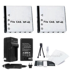 2x NP-40 Battery + Charger for Casio EX-FC100 FC150 Z30 Z40 Z50 Z55 Z57