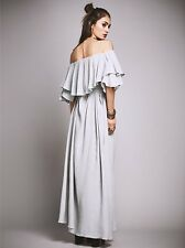 New Free People Cloud Grey Maison Maxi Dress Gown Size XS 0 2 Off Shoulder