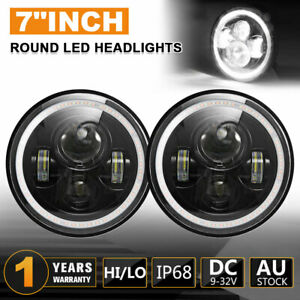 "Pair 7"" inch LED Headlight High low Beam DRL Fit For JEEP JK GQ PATROL Projector"