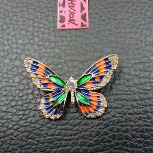 Betsey Johnson Multi-Color Enamel Crystal Exquisite Butterfly Charm Brooch Pin