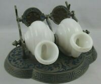 Unique One of a Kind Ornate Antique Double Inkwell w Moving Porcelain Reservoirs