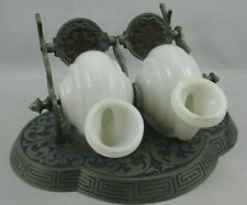 Very Unique Antique Double Inkwell with Moving Rotating Porcelain Reservoirs