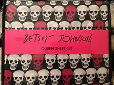 Betsey Johnson Queen Sheet Set Skull Pink, Black and White NIP