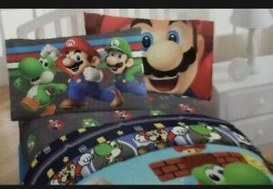 💙 4 pc Nintendo Super Mario Full Sheets Set NEw