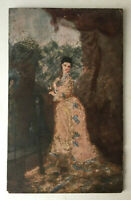 19th century French Antique Oil painting portrait of a Lady woman with a fan