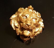 Vintage 14k Gold Lion Head brooch pin with Diamond eyes