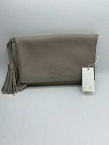 Tory BurchThea Leather Foldover Crossbody Bag In French Gray NWT