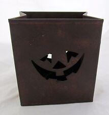 Halloween Jack O Lantern Pumpkin Face Tin Bag Tea Light Candle Holder Metal Sack