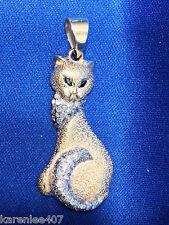 Cat Pendant Diamonds Sapphire Eyes14k Y/Gold  Handmade 1.00 ctTW
