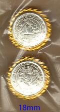Tarjeta De 2-Hongos-Botones-Gold & Silver Color - 18 Mm