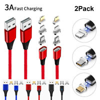 2 Pack Magnetic 3A Fast Charging Charger Cord Cable For iPhone Type C Micro USB/