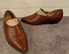 """IPANEMA Women's Brown Woven Leather Slip On Shoes Sz 9 Small 1"""" Heels"""