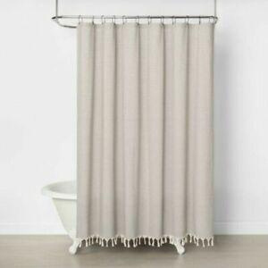 Hearth & Hand Magnolia Railroad Stripe Copper Knotted Fringe Shower Curtain NEW