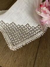 Vintage Antique Linen Handkerchief Or Doily Tatted Lace