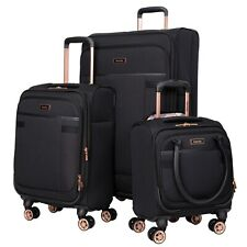 BLACK 3PC Exp Soft Spinner Luggage Set with 28