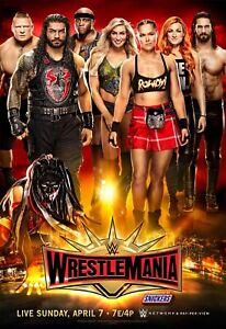 "WRESTLEMANIA 35 WWE POSTER 12""x18"" Photo Print ROUSEY ROMAN BROCK"