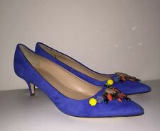 $328 NEW JCrew COLLECTION Dulci Suede Kitten Heels Jeweled Womens 7.5 Blue Italy