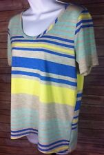 Women's Striped Short Sleeve Cut Out Back Shirt Blue Yellow Size Medium