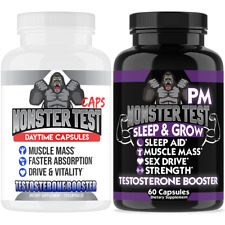 Monster Test Testosterone Booster Capsules + Monster PM Sleep Aid 2-Pack