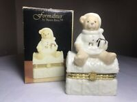 """Vintage Formalities By Baum Ivory Gold Hinged Trinket Box 4¼"""" Christmas Bear NEW"""