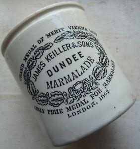 2 lb size dumpy shape JAMES KEILLER DUNDEE marmalade pot crock C 1890s.