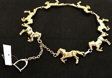 AR Paris Mod Depose Equestrian Design Gold Belt Horse Vintage Made in France New