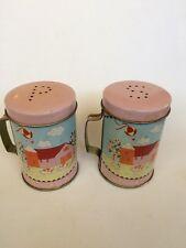 Tin Can Farm House Salt & Pepper Shakers. Euc.