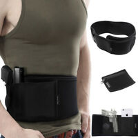 Waist Band Belly Band Holster Concealed Gun Carry with Zipper Pouch BLACK Hunt