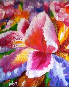 Quadro Dipinto a Mano Olio su tela Arte floreale Giglio in Fiore wall art