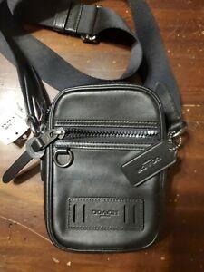 Coach Authentic Men's $250 Terrain Crossbody Black Calf Leather Bag F72963