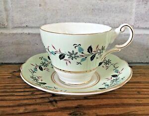 Regency English Bone China Tea Cup & Saucer Light Green Floral Leaves Gold Trim