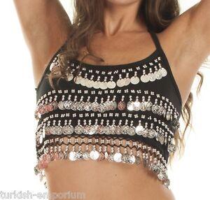 Camisole Halter Top Belly Dance Coin Top spaghetti strap Crop Bra BH Costume UK
