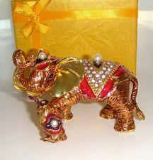 QIFU MOTHER ELEPHANT WITH CALF JEWELLED &ENAMELLED TRINKET BOX / FIGURINE
