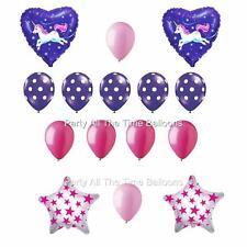 15 pc Flying Unicorn Purple pink Happy Birthday Balloon Bouquet FREE SHIPPING