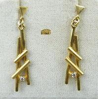 Ohringe aus 333er Gold mit  weißem Stein  (da4562)