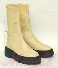 Zara Damen Boots Stiefel Stiefeletten Plateaustiefel Beige Leder 37 NEU