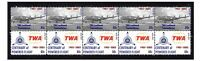 TWA AIRLINES CENTENARY FLIGHT STRIP OF 10 MINT VIGNETTE STAMPS, CONSTELLATION