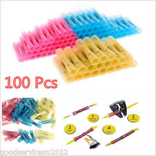100 X Waterproof Red&Yellow&Blue Car Heat Shrink Butt Electrical Wire Connectors