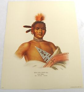 VINTAGE NATIVE AMERICAN INDIAN IOWAY CHIEF MOA-NA-HON-GA PRINT McKENNEY HALL PEN